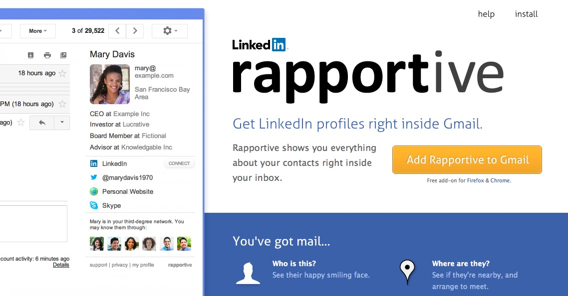 Rapportive maakt dat je snel zinvolle contacten legt in LinkedIn.
