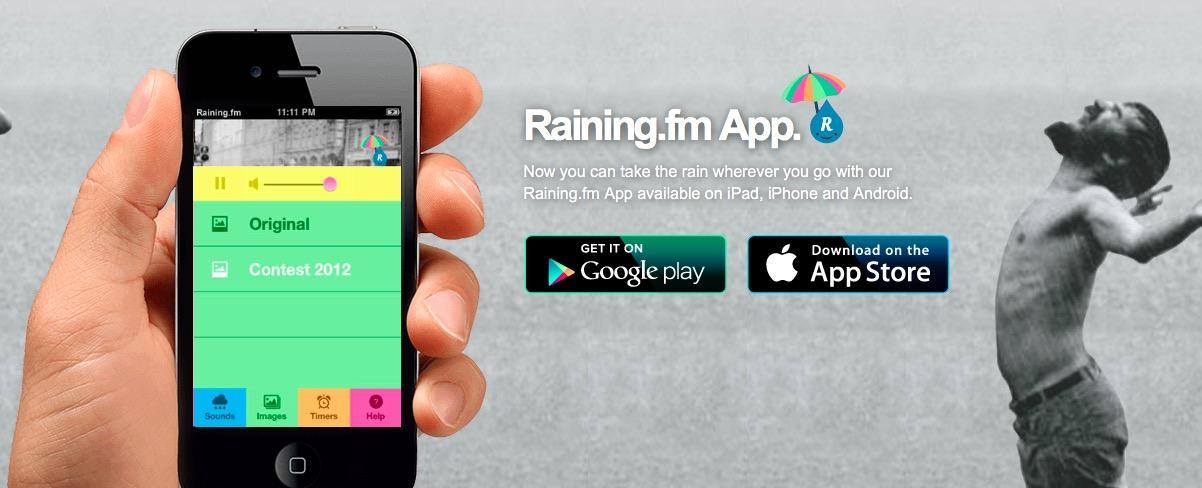 APP - Raining.fm laat je in slaap vallen met regen 1